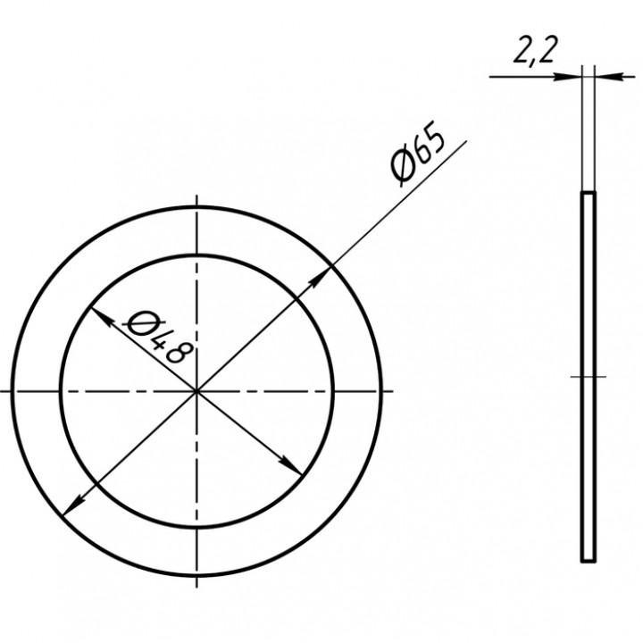 """Прокладка плоская под горловину Ø65 х 48 х 2мм (М 065) """"Анипласт"""""""